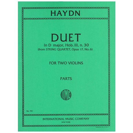 Haydn, J.: Duett D-Dur nach Op. 17/6