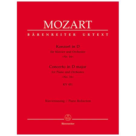 Mozart, W. A.: Klavierkonzert Nr. 16 KV 451 D-Dur