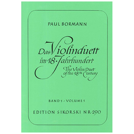 Bormann, P.: Das Violinduett im 18. Jahrhundert Band 1