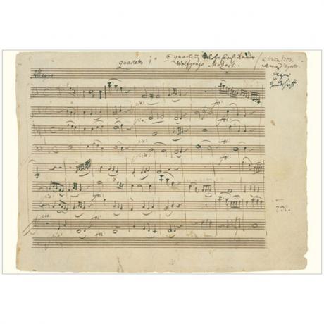 Grußkarte »Mozart-Faksimile I« Streichquartett F-dur KV 168