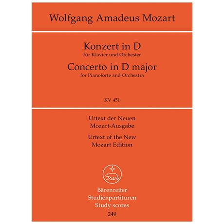 Mozart, W. A.: Klavierkonzert D-Dur KV 451 – Konzert für Klavier und Orchester
