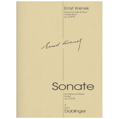 Krenek, E.: Sonate fis-Moll Op.3
