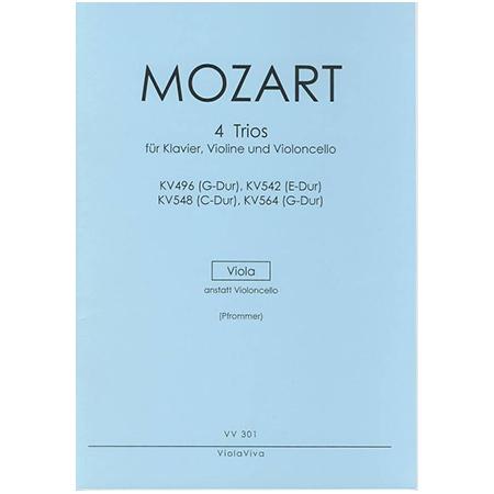 Mozart, W. A.: 4 Trios für Violine, Viola und Klavier – Violastimme