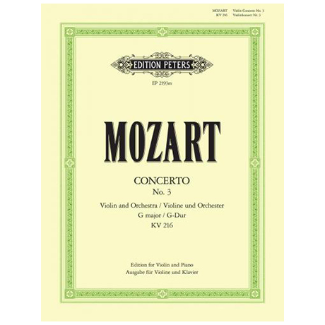 Mozart, W.A.: Violinkonzert Nr. 3 G-Dur KV 216 mit Kadenz