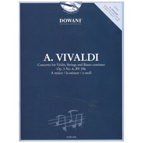 Vivaldi, A.: Violinkonzert Op. 3 Nr. 6, RV 356 a-Moll (+CD)