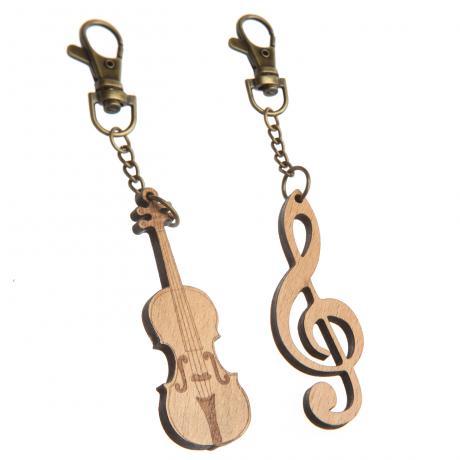 Schlüsselanhänger Holz Violinschlüssel