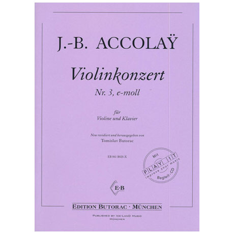 Accolay, J.B.: Violinkonzert Nr. 3 e-moll (+CD)
