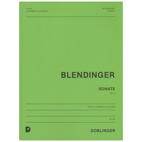 Blendinger, H.: Violasonate Op. 13