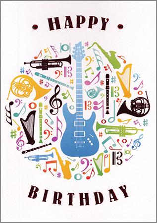Postkarte Happy Birthday Instruments