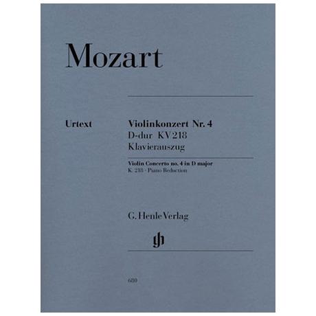 Mozart, W.A.: Violinkonzert Nr. 4 D-Dur, KV 218 mit Kadenz Urtext