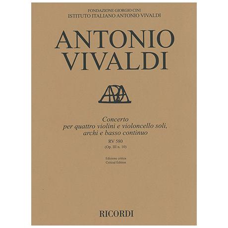 Vivaldi, A.: Concerto X Op. 3/10 RV 580 PV 148 h-Moll – Partitur