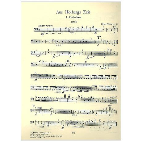 Grieg, E.: Suite »Aus Holbergs Zeit« Op. 40 G-Dur – Einzelstimmen