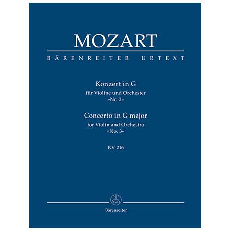 Mozart, W. A.: Konzert für Violine und Orchester Nr. 3 G-Dur KV 216