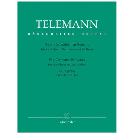 Telemann, G. Ph.: Sechs Sonaten im Kanon – Op. 5 Band 1 TWV 40: 118-120