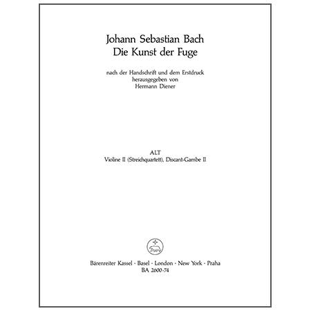 Bach, J. S.: Die Kunst der Fuge BWV 1080 – Violine 2 oder Viola da Gamba 2