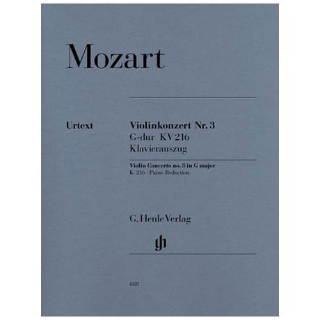 Mozart, W.A.: Violinkonzert Nr. 3 G-Dur KV 216 mit Kadenz Urtext