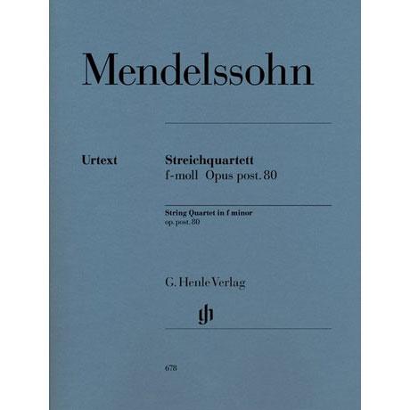 Mendelssohn Bartholdy, F.: Streichquartett f-Moll Op. posth. 80 Urtext
