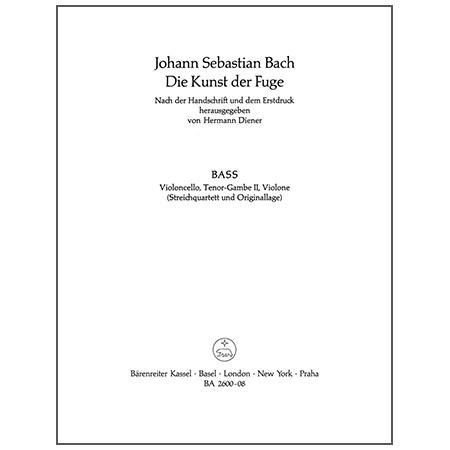 Bach, J. S.: Die Kunst der Fuge BWV 1080 – Violoncello, Viola da Gamba oder Kontrabass