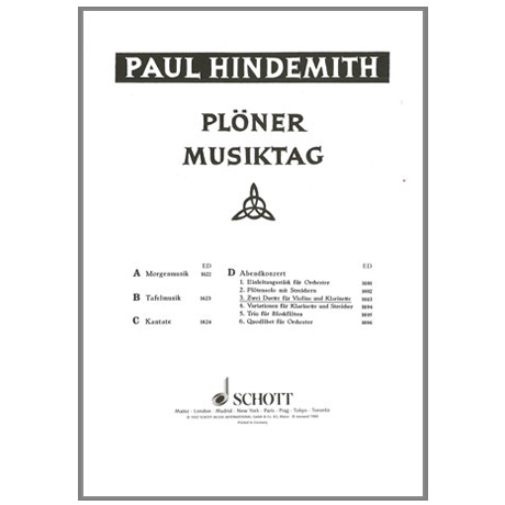 Hindemith, P.: Plöner Musiktag, Abendkonzert Nr. 3