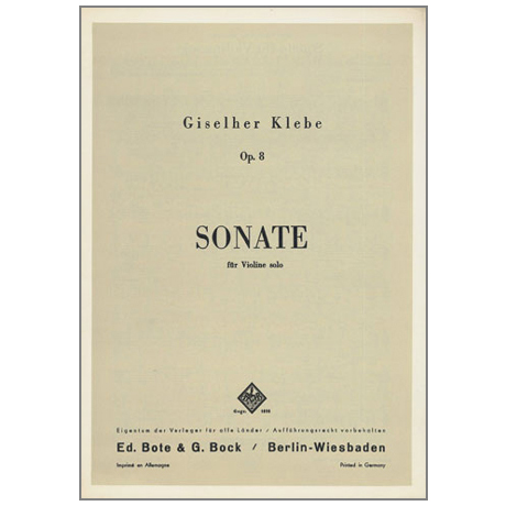 Klebe, G.: Sonate Nr.1 Op.8