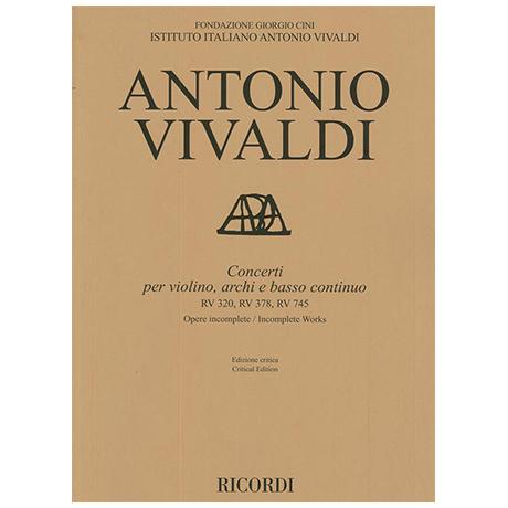 Vivaldi, A.: Violinkonzerte RV 320, RV 378, RV 745 – Partitur