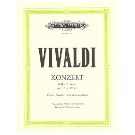 Vivaldi, A.: Violinkonzert G-Dur op. 3/3 RV 310 Urtext