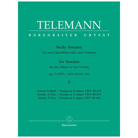 Telemann, G.P.: Sechs Sonaten - Band 2 Op.2 TWV 40:104-106