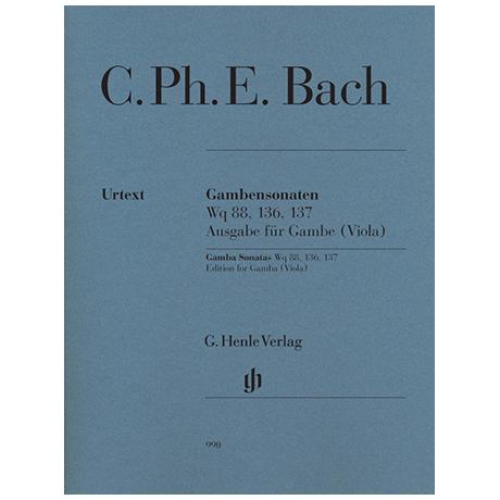 Bach, C.Ph.E.: Gambensonaten Wq 88, 136, 137