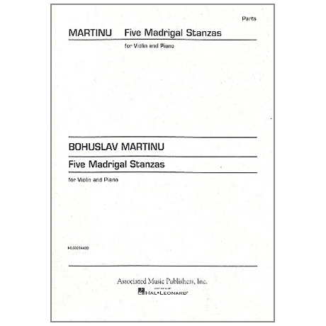 Martinu, B.: 5 Madrigal Stanzas