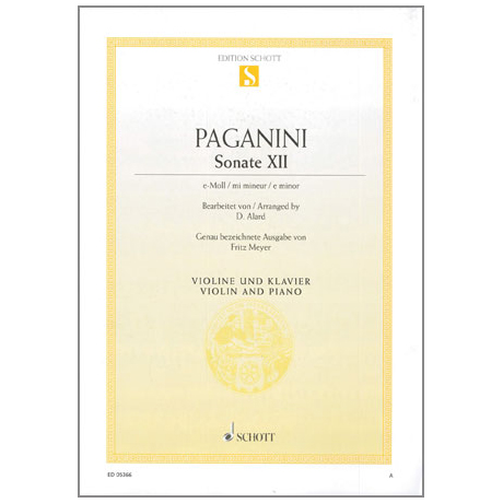 Paganini, N.: Violinsonate Nr. 12 Op. 3 e-Moll