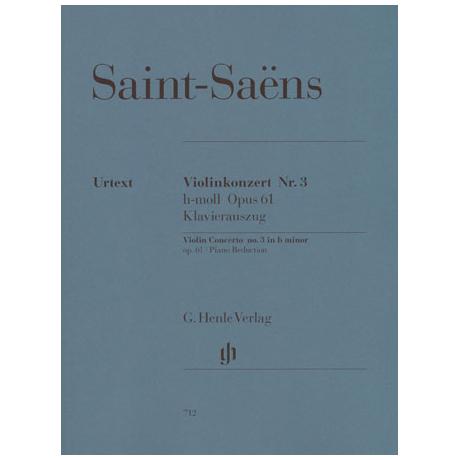 Saint-Saëns, C.: Violinkonzert Nr. 3 Op. 61 h-Moll Urtext