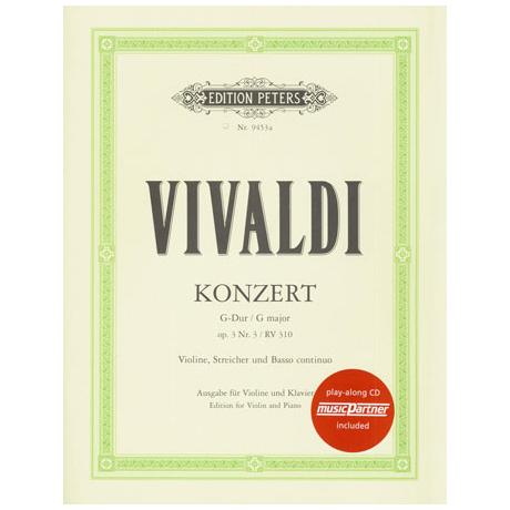 Vivaldi, A.: Violinkonzert G-Dur op. 3/3 RV 310 Urtext (+CD)