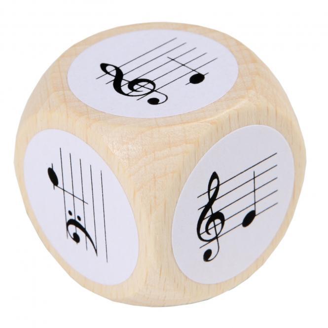 Notenwürfel mit Violin- und Bassschlüssel