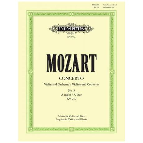 Mozart, W.A.: Violinkonzert Nr. 5 A-Dur, KV 219 mit Kadenz