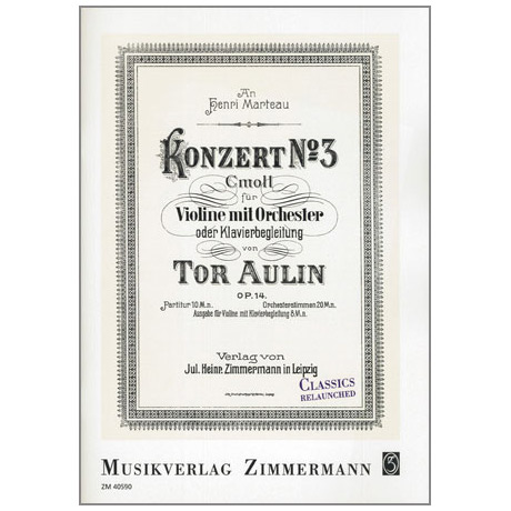 Aulin, T.: Violinkonzert Nr. 3 Op. 14 c-Moll