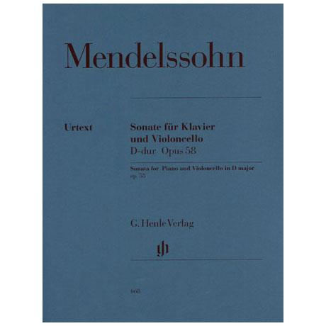 Mendelssohn Bartholdy, F.: Cellosonate Nr. 2 D-Dur, Op. 58 Urtext