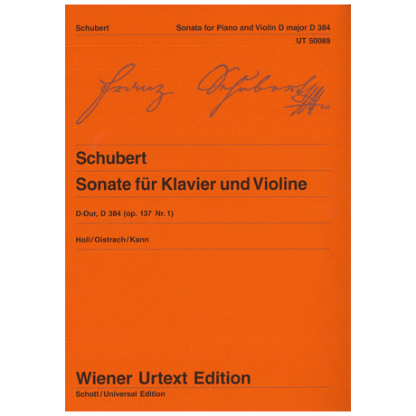Schubert, F.: Sonate (Sonatine) D-Dur, op. 137/1 (D 384)