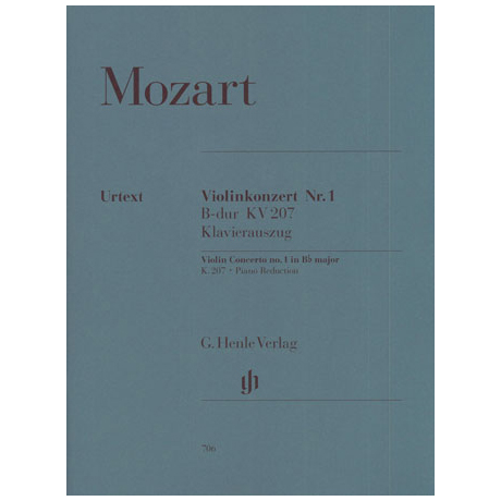 Mozart, W.A.: Violinkonzert Nr. 1 B-Dur, KV 207 mit Kadenz Urtext