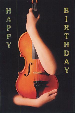 Postkarte Happy Birthday Violin