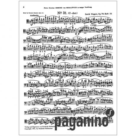 David Popper : Hohe Schule Des Violoncellspiels Op 73 Heft 4