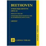 Beethoven, L. v.: Streichquartette Op. 18, Op. 18/1 1. Fassung, nach Op. 14/1 und Menuett WoO 209