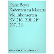 Beyer, F.: Kadenzen zu W. A. Mozarts Violinkonzerten KV 216, KV 218, KV 219, KV 207 und KV 211