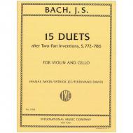 Bach, J. S.: 15 Duette nach den zweistimmigen Inventionen BWV 772-786